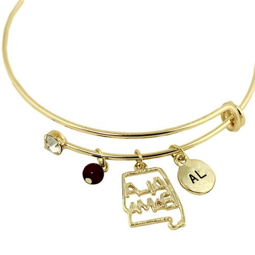 Alabama State Charms Bangle Bracelet Gold