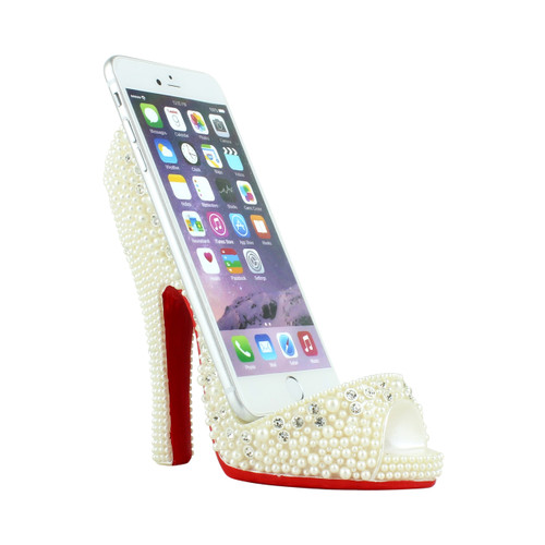 Pearl Crystal Shoe Cell Phone Holder White