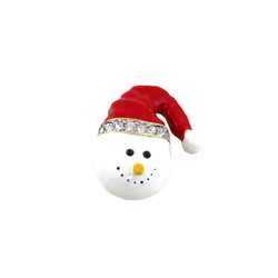 Snowman Santa Hat Pin Jeweled