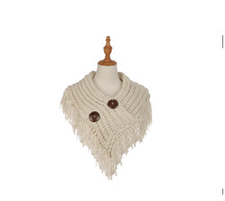 Cable Knit Button Collar Scarf With Fringe Beige