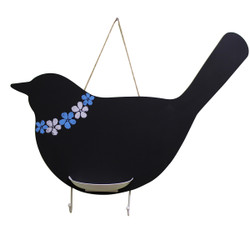 Bird Chalkboard with Key Hooks & Chalk Holder