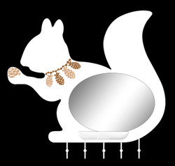 Squirrel Wall Mirror with Tray & Hooks