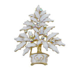 White Christmas Tree Pin Sparkling
