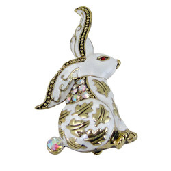 White and Gold Rabbit Brooch