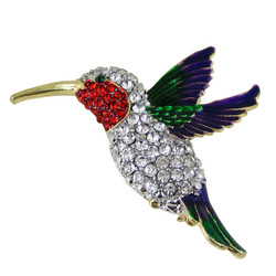 Flying Hummingbird Brooch Multicolor Sparkling