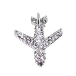 Rhinestone Encrusted Airplane Pin