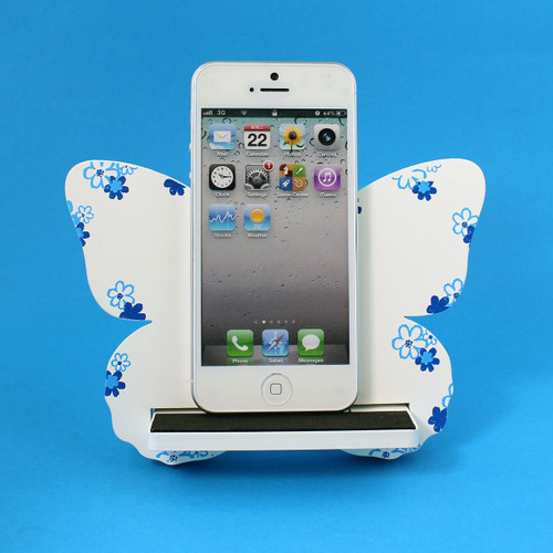 Butterfly Cell Phone Holder Wood Stand White