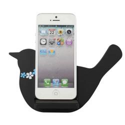 Bird Cell Phone Holder Wood Stand Black
