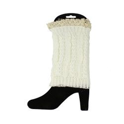 Knit Boot Cuff Topper Liner Leg Warmer With Lace Trim White