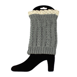 Knit Boot Cuff Topper Liner Leg Warmer With Lace Trim  Twist Pattern Grey