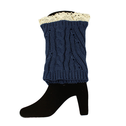 Knit Boot Cuff Topper Liner Leg Warmer With Lace Trim  Mixed Pattern Navy
