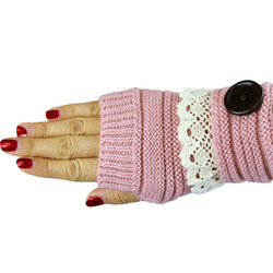 Knit Button Fingerless Gloves With Lace Trim Pink
