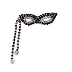 Bejeweled Tasseled Mardi Gras Mask Brooch