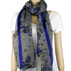Watercolor Large Scarf Neon Color Blue