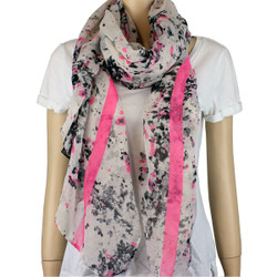 Watercolor Large Scarf Neon Color Pink