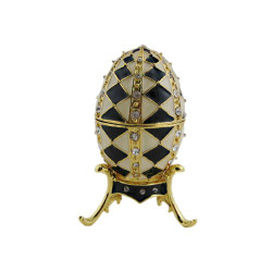 Egg Trinket Box with Stand Black White Diamond