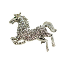 Wild Galloping Horse Crystal Brooch and Pendant