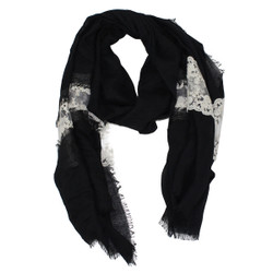 Solid Color Lace Scarf Black