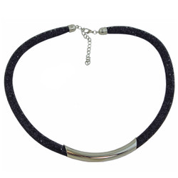 Diamond Illusion Necklace Black and Silver