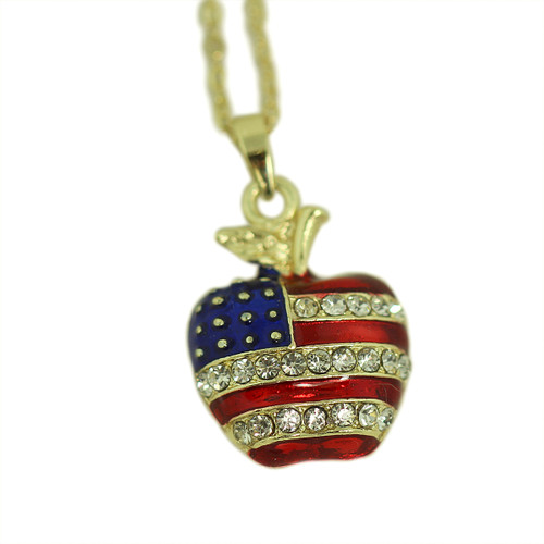 Patriotic Apple Necklace