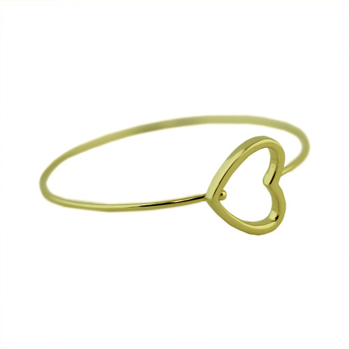 Delicate Heart Silhouette Bangle Gold