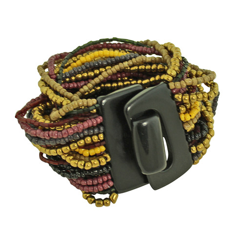 Bead Overload Bracelet Brown and Plum