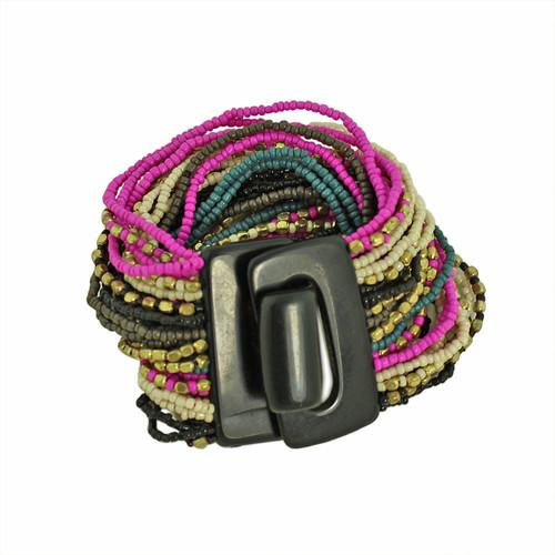 Bead Overload Bracelet Fuchsia and Black