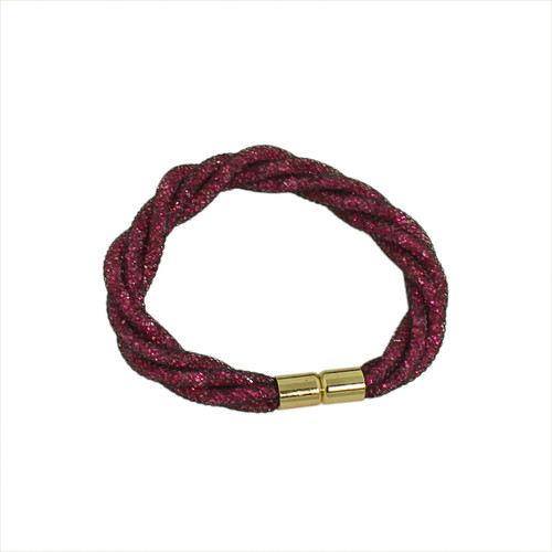 Twisted Diamond Illusion Bracelet Fuschia and Gold