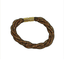 Twisted Diamond Illusion Bracelet Brown and Gold