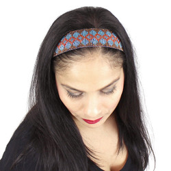 Beaded Navaho Design Headband Brown and Teal
