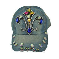 Fleur De Lis Rhinestone Baseball Cap Denim Hat Light Blue