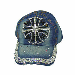 Cross Rhinestone Baseball Cap Denim Hat Blue