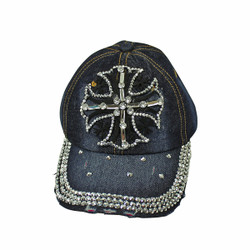 Cross Rhinestone Baseball Cap Denim Hat Dark Blue