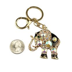 Sacred Elegant Elephant Purse Charm Keychain Opal White