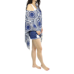 Mandala Print Caftan Chiffon Top with Tassels Blue