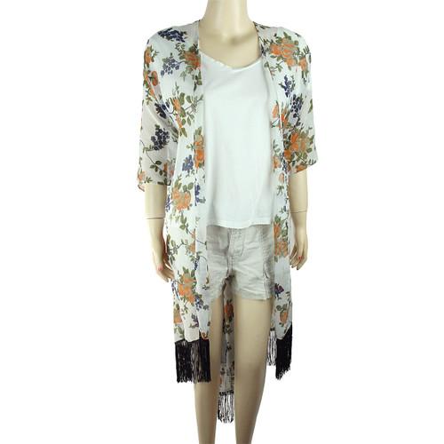 Chiffon Kimono Floral Print with Tassels Off White