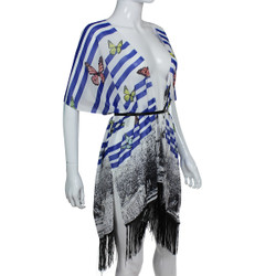 Butterfly Mixed Print Kimono with Tassels Blue