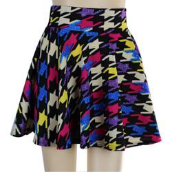 Houndstooth Short Skater Skirt Multicolor
