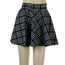 Cross Print Short Skater Skirt Black and White