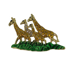Family of Giraffes Brooch