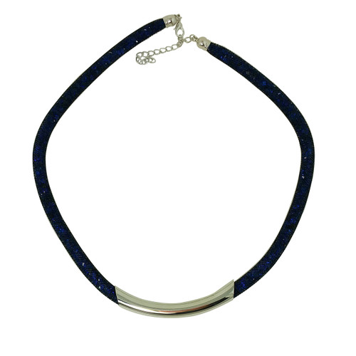 Diamond Illusion Necklace Navy and Silver