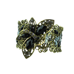 Wide butterfly Bracelet Filigree Cuff Black