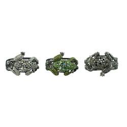 Large Tree Frog Crystal Bracelet Set of 3