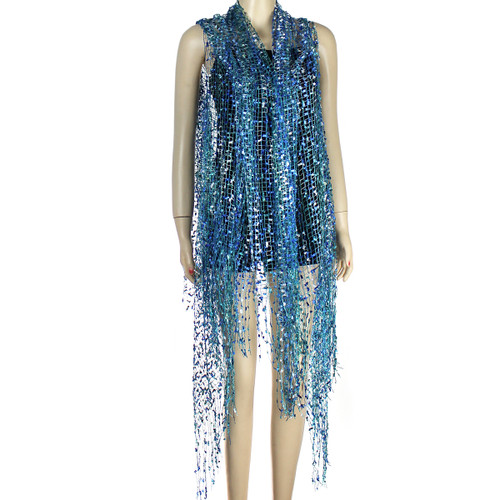 Confetti Wrap Sleeveless Kimono with Fringes Teal and Royal Blue