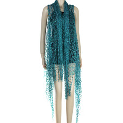 Confetti Wrap Sleeveless Kimono with Fringes Teal Green
