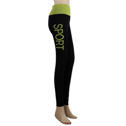 Yoga Leggings with 'SPORT' Woven Lettering Yellow-Green