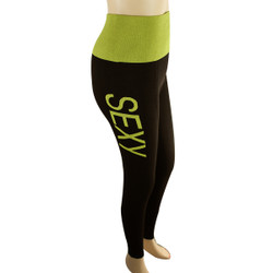 Yoga Legging with 'SEXY' Woven Lettering Regular Yellow-Green