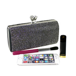 Crystals Minaudiere Clutch Black