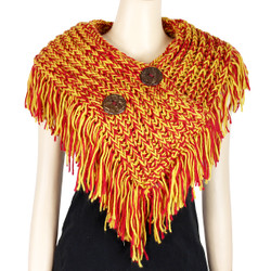 Cable Knit Button Collar Scarf With Fringe Red and Yellow