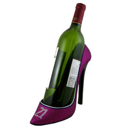 21st Birthday Glitter Wine Bottle Holder Shoe Purple